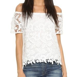 Ahthro WAYF Off Shoulder Chrochet Lace Top